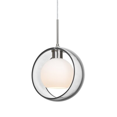Spigner 1-Light Mini Pendant Base Finish: Satin Nickel, Shade Color: Clear