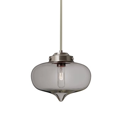 Sperling Stem 1-Light Mini Pendant Base Finish: Satin Nickel, Shade Color: Smoke
