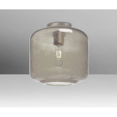 Spero Ceiling Cylinder 1-Light Semi Flush Mount Base Finish: Satin Nickel, Shade Color: Smoke