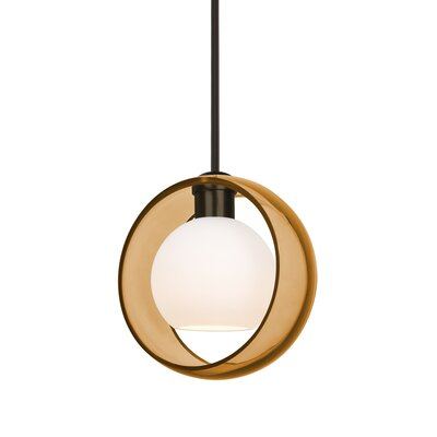 Spigner Stem 1-Light LED Mini Pendant Base Finish: Bronze, Shade Color: Amber