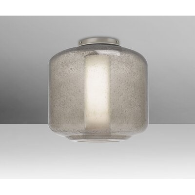 Spero Ceiling 1-Light Semi Flush Mount Base Finish: Satin Nickel, Shade Color: Smoke