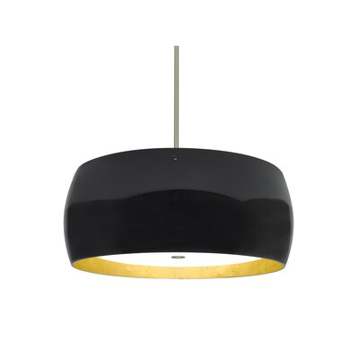 Speidel 3-Light Drum Pendant Base Finish: Satin Nickel, Shade Color: Black/Gold