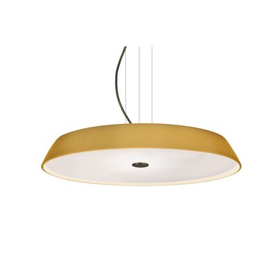 Speier Round Suspension 1-Light LED Inverted Pendant Finish: Bronze, Shade Color: Amber