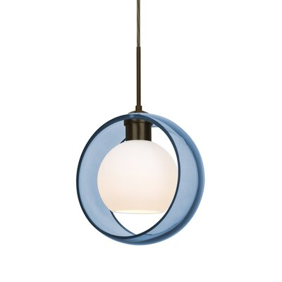 Spigner 1-Light Mini Pendant Base Finish: Bronze, Shade Color: Blue