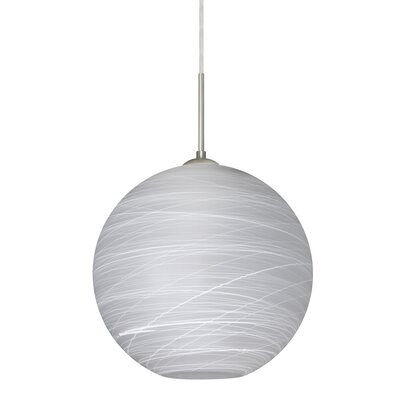 Speth 1-Light Cocoon Globe Pendant Base Finish: Satin Nickel, Size: 13.25 H x 13.75 W x 13.75 D