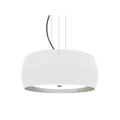 Speidel 3-Ligh Drum Pendant Base Finish: Bronze, Shade Color: White/Silver