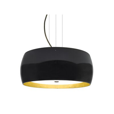 Speidel 3-Light Drum Pendant Base Finish: Bronze, Shade Color: Black/Gold
