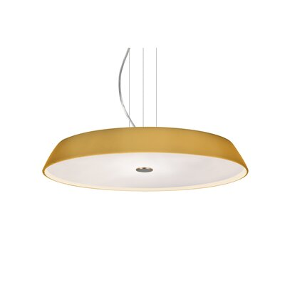 Speier Round Suspension 1-Light LED Inverted Pendant Shade Color: Amber, Finish: Satin Nickel
