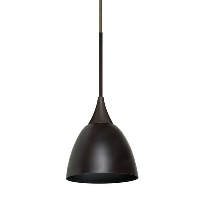 Cavan Cord 1-Light Mini Pendant Base Finish: Bronze, Shade Color: Metal Bronze, Bulb Type: 50W Halogen
