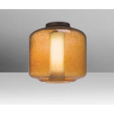 Spero Ceiling 1-Light Semi Flush Mount Base Finish: Bronze, Shade Color: Amber