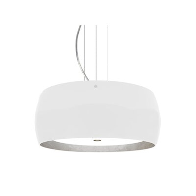 Speidel 3-Ligh Drum Pendant Base Finish: Satin Nickel, Shade Color: White/Silver