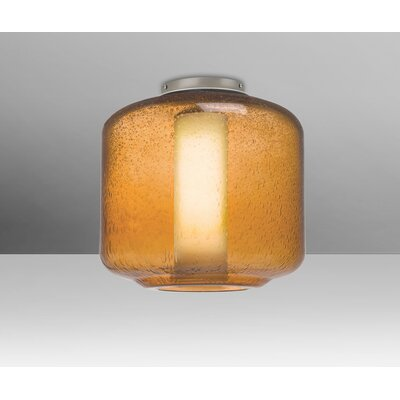 Spero Ceiling 1-Light Semi Flush Mount Base Finish: Satin Nickel, Shade Color: Amber