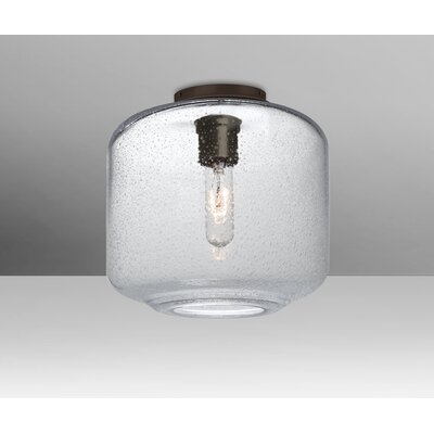 Spero Ceiling Cylinder 1-Light Semi Flush Mount Base Finish: Bronze, Shade Color: Clear