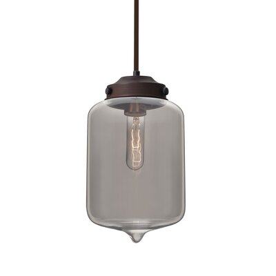 Cargan Stem 1-Light Mini Pendant Base Finish: Bronze, Shade Color: Smoke
