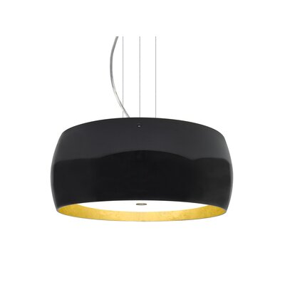Speidel 3-Ligh Drum Pendant Base Finish: Satin Nickel, Shade Color: Black/Gold