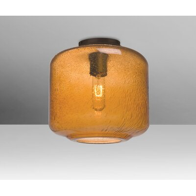 Spero Ceiling Cylinder 1-Light Semi Flush Mount Base Finish: Bronze, Shade Color: Amber