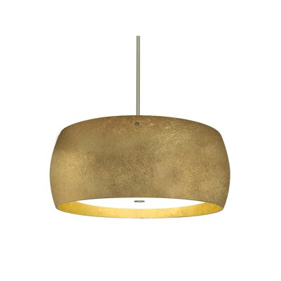 Speidel 3-Light Drum Pendant Base Finish: Satin Nickel, Shade Color: Gold