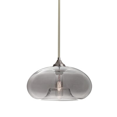 Sperry Stem 1-Light Mini Pendant Base Finish: Satin Nickel, Shade Color: Smoke
