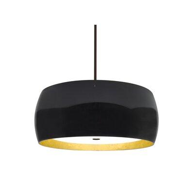 Speidel 3-Light LED Drum Pendant Base Finish: Bronze, Shade Color: Black/Gold