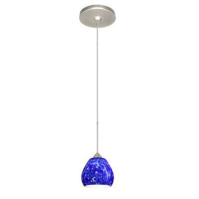 Tay Tay 1 Light Mini Pendant Finish: Satin Nickel, Glass Shade: Blue Cloud