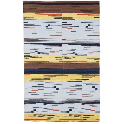Hand-Woven Blue/Yellow Area Rug