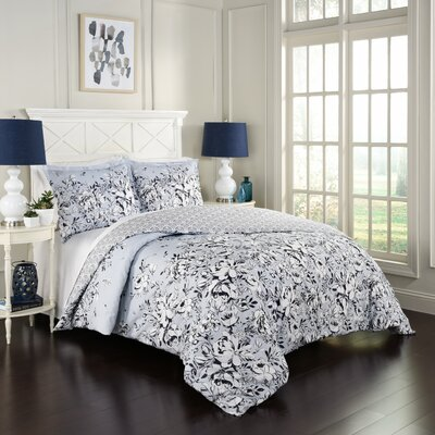 Pamplin 100% Cotton 3 Piece Reversible Comforter Set Size: Queen