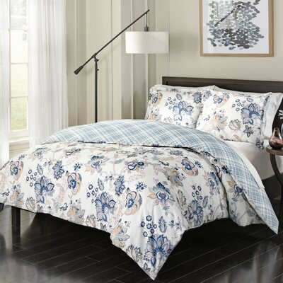 Onley 100% Cotton 3 Piece Reversible Comforter Set Size: Queen