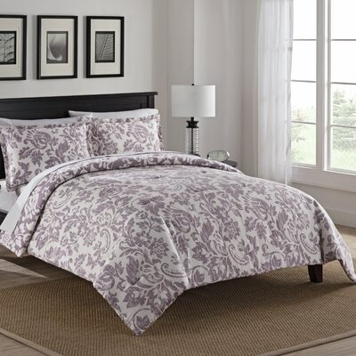 Bungalow 100% Cotton 3 Piece Reversible Comforter Set Size: King, Color: Purple