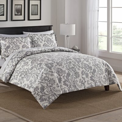 Bungalow 100% Cotton 3 Piece Reversible Comforter Set Size: Queen, Color: Gray