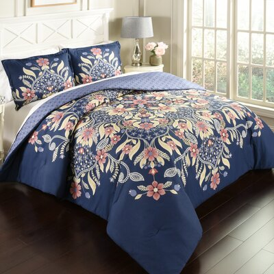 Meka 100% Cotton 3 Piece Reversible Comforter Set Size: Full/Queen