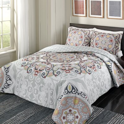 Dowland 100% Cotton 3 Piece Reversible Comforter Set Size: King