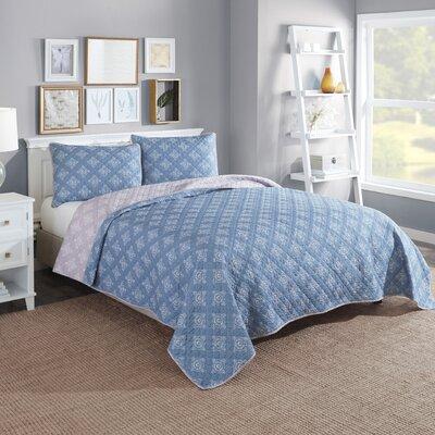 Doron Cotton Reversible 3 Piece Quilt/Coverlet Set Color: Blue, Size: Queen