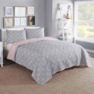 Doron Cotton Reversible 3 Piece Quilt/Coverlet Set Color: Gray, Size: Queen