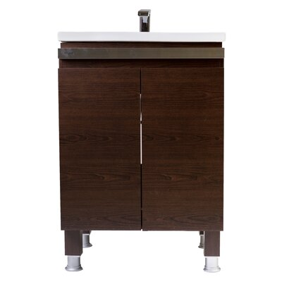 24 Single Smart Vanity Set Base Finish: Walnut Brown