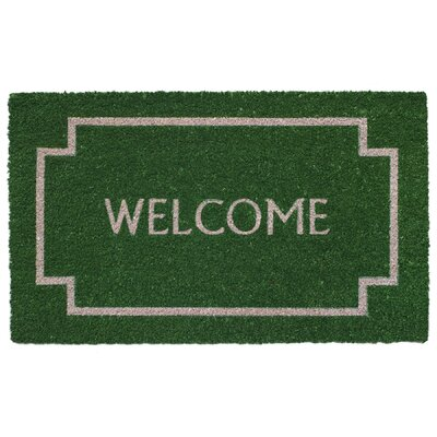 Welcome Border Coir Doormat Color: Green