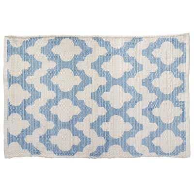 Key Hole Faded Denim Hand-Woven Blue Area Rug
