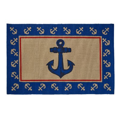 Anchor Printed Jute Blue Area Rug
