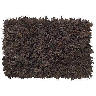 Leather Shag Hand-Woven Chocolate Area Rug