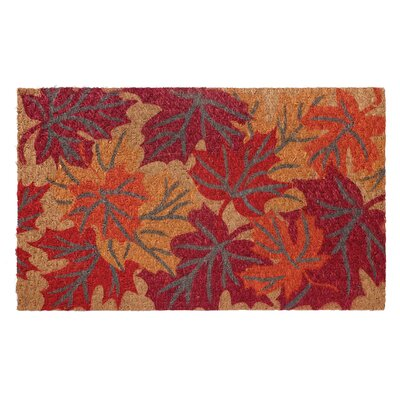 Low Profile Flatweave Falling Leaves Doormat
