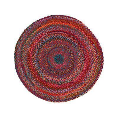 Carnivale Braided Red Area Rug Rug Size: Round 3'