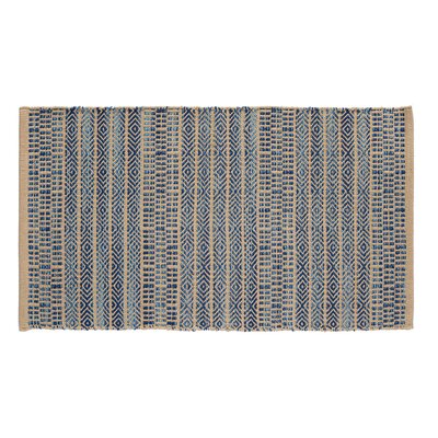 Sahara Jacquard Khaki/Blue Area Rug Rug Size: 19 x 210