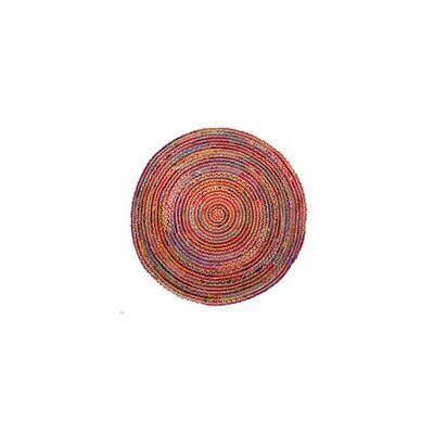 Valencia Braided Hand Woven Cotton Red Area Rug Rug Size: Round 5
