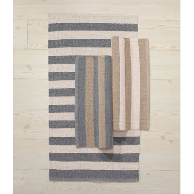 Awning Stripe Hand-Woven Beige/Gray Indoor/Outdoor Area Rug