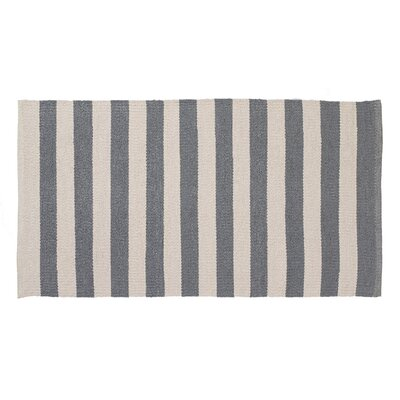 Awning Stripe Hand-Woven Gray/Cream Indoor/Outdoor Area Rug