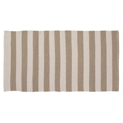 Awning Stripe Hand-Woven Beige/Cream Indoor/Outdoor Area Rug