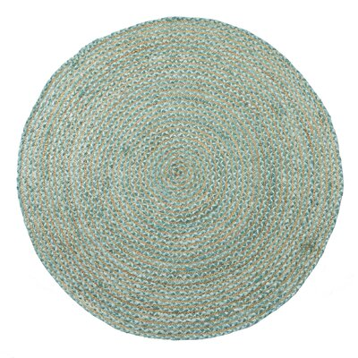 Valencia Braided Hand Woven Teal Area Rug Rug Size: Round 5'
