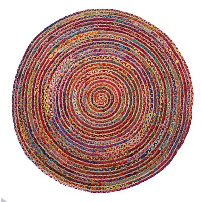 Valencia Braided Hand Woven Red Area Rug Rug Size: Round 5'