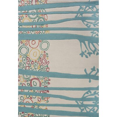 Louella Hand-Tufted Gray/Blue Area Rug Rug Size: 37 x 55