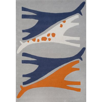 Kareem Mr. Giraffe Hand-Tufted Orange/Blue Area Rug Rug Size: 37 x 55