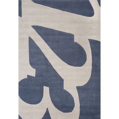 Hand-Tufted Gray/Blue Area Rug Rug Size: 37 x 55
